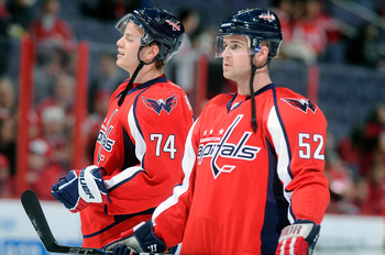 WASHINGTON, DC - FEBRUARY 12:  John Carlson #74 and Mike Green #52 of the Washington Capitals warm up before the game against the Los Angeles Kings at the Verizon Center on February 12, 2011 in Washington, DC.  (Photo by Greg Fiume/Getty Images)