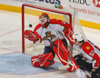 BUFFALO, NY - MARCH 31:  Tomas Vokoun #29 of the Florida Panthers gets control of the puck against the Buffalo Sabres  at HSBC Arena on March 31, 2010 in Buffalo, New York.  (Photo by Rick Stewart/Getty Images)