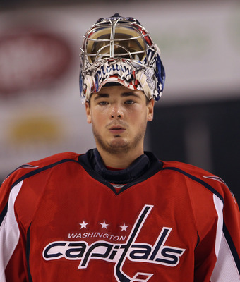BALTIMORE, MD - SEPTEMBER 20: Michal Neuvirth #30 of the Washington Capitals skates against the Nashville Predators at the 1st Mariner Arena on September 20, 2011 in Baltimore, Maryland. The Predators defeated the Capitals 2-0.  (Photo by Bruce Bennett/Ge