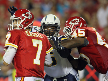 KANSAS CITY, MO - SEPTEMBER 13:  Quarterback Matt Cassel #7 of the Kansas City Chiefs is sacked by Shaun Phillips #95 of the San Diego Chargers during the 1st quarter of the game against on September 13, 2010 at Arrowhead Stadium in Kansas City, Missouri.