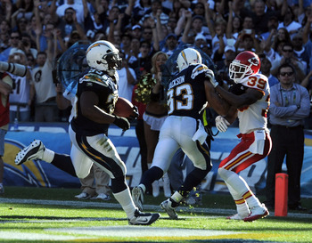 SAN DIEGO, CA - DECEMBER 12:  Mike Tolbert #35 of the San Diego Chargers scores a touchdown with a block from Vincent Jackson #83 on Brandon Carr #39 of the Kansas City Chiefs for a 14-0 lead during the second quarter at Qualcomm Stadium on December 12, 2