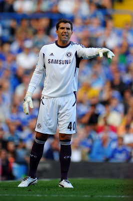 LONDON, ENGLAND - AUGUST 20:  Goalkeeper Henrique Hilario of Chelsea gestures during the Barclays Premier League match between Chelsea and West Bromwich Albion at Stamford Bridge on August 20, 2011 in London, England.  (Photo by Laurence Griffiths/Getty I