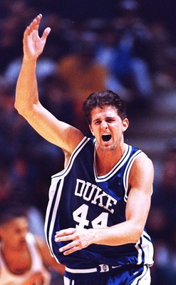 26 MARCH 1994:  DUKE''S CHEROKEE PARKS CELEBRATES AFTER MAKING A SLAM DUNK TO PUT THE FINISHING TOUCHES ON PURDUE DURING THE NCAA SOUTHEAST REGIONAL CHAMPIONSHIP.  DUKE WON, 69-60, TO ADVANCE TO THE FINAL FOUR IN CHARLOTTE, NORTH CAROLINA.   Mandatory Cre