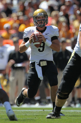 DENVER - SEPTEMBER 04:  Quarterback Tyler Hansen  #9 of the Colorado Buffaloes drops back to pass against the Colorado State Rams in the Rocky Mountain Showdown at INVESCO Field at Mile High on September 4, 2010 in Denver, Colorado. Colorado was awarded t