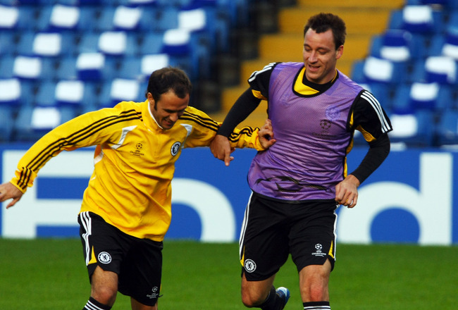 LONDON - OCTOBER 21:  John Terry and Ricardo Carvalho of Chelsea in action during a training session before the UEFA Champions League match between Chelsea and Roma, at Stamford Bridge on October 21, 2008 in London, England.  (Photo by Clive Rose/Getty Im