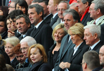 LIVERPOOL, ENGLAND - APRIL 15: Former Liverpool players Alan Kennedy, Alan Hansen, Mark Lawrenson and former coach Roy Evans attend the the Hillsborough memorial service at Anfield on April 15, 2009, Liverpool, England. Thousands of fans, friends and rela