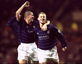 28 Dec 1999:  Nicky Butt of Manchester United celebrates his goal against Sunderland with team mate Roy Keane during the FA Carling Premiership match at the Stadium of Light in Sunderland, England. The game ended 2-2. \ Mandatory Credit: Clive Brunskill /