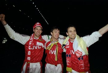 6 May 1991:  Captain Tony Adams, David O''Leary and Steve Bould of Arsenal celebrate after their victory in the Barclays League Division One match against Manchester United played at Highbury in London, England.   Arsenal won the match 3-1 and became Leag