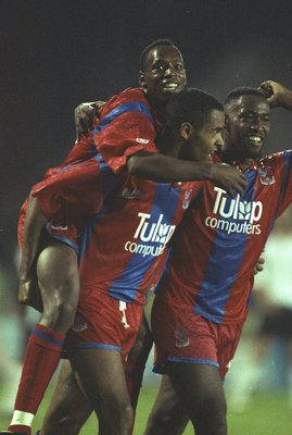 1991:  Mark Bright, Andy Gray and Ian Wright of Crysytal Palace celebrate a goal during a Barclays League Division One match against Wimbledon at Selhurst Park in London. Crystal Palace won the match 3-2. \ Mandatory Credit: Allsport UK /Allsport