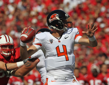 MADISON, WI - SEPTEMBER 10:  Sean Mannion #4 of the Oregon State Beavers throws a pass against the Wisconsin Badgers at Camp Randall Stadium on September 10, 2011 in Madison Wisconsin. Wisconsin defeated Oregon State 35-0. (Photo by Jonathan Daniel/Getty