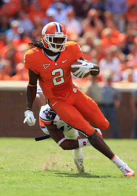 CLEMSON, SC - SEPTEMBER 17:  Sammy Watkins #2 of the Clemson Tigers runs with the ball against Demetruce McNeal #12 of the Auburn Tigers during their game at Memorial Stadium on September 17, 2011 in Clemson, South Carolina.  (Photo by Streeter Lecka/Gett