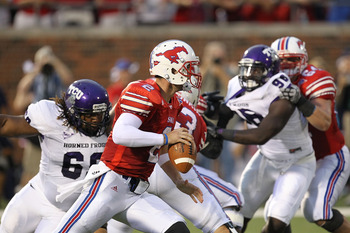 DALLAS - SEPTEMBER 24:  Quarterback Kyle Padron #2 of the SMU Mustangs looks to pass against the TCU Horned Frogs at Gerald J. Ford Stadium on September 24, 2010 in Dallas, Texas.  (Photo by Ronald Martinez/Getty Images)