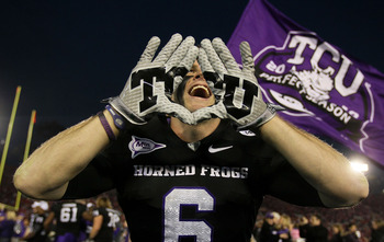 PASADENA, CA - JANUARY 01:  Wide receiver Bart Johnson #6 of the TCU Horned Frogs celebrates after defeating the Wisconsin Badgers 21-19 in the 97th Rose Bowl game on January 1, 2011 in Pasadena, California.  (Photo by Jeff Gross/Getty Images)
