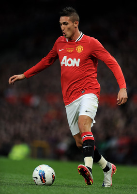 MANCHESTER, ENGLAND - AUGUST 05:  Federico Macheda of Manchester United in action during Paul Scholes' Testimonial Match between Manchester United and New York Cosmos at Old Trafford on August 5, 2011 in Manchester, England.  (Photo by Chris Brunskill/Get