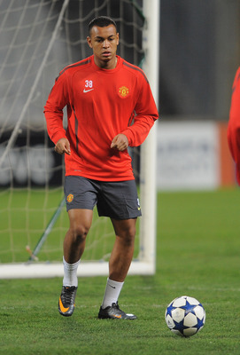 MARSEILLE, FRANCE - FEBRUARY 22: Joshua King warms up during the Manchester United training session ahead of the UEFA Chapions League round of 16 first leg match against Marseille at the Stade Velodrome on February 22, 2011 in Marseille, France.  (Photo b