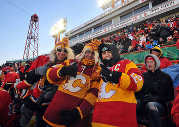 CALGARY, AB - FEBRUARY 20:  A general view of fans enjoying the 2011 NHL Heritage Classic Game at McMahon Stadium on February 20, 2011 in Calgary, Alberta, Canada.  (Photo by Dylan Lynch/Getty Images)