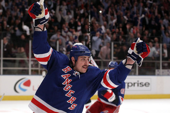 Rangers celebrate a goal at Madison Square Garden, Applauded by another sellout crowd at MSG.