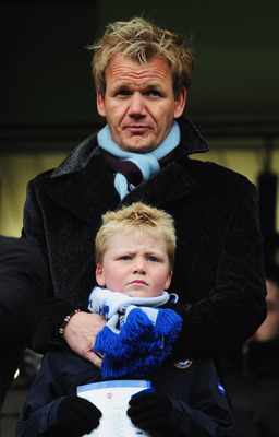 LONDON - MARCH 23:  Chef Gordon Ramsay and son Jack look on from the stands prior to the Barclays Premier League match between Chelsea and Arsenal at Stamford Bridge on March 23, 2008 in London, England.  (Photo by Shaun Botterill/Getty Images)