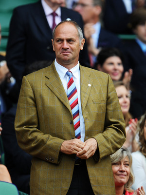 LONDON, ENGLAND - JUNE 25:  Sir Steve Redgrave looks on from the Royal Box prior to the third round match between Caroline Wozniacki of Denmark and Jarmila Gajdosova of Australia on Day Six of the Wimbledon Lawn Tennis Championships at the All England Law