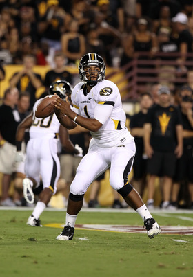 TEMPE, AZ - SEPTEMBER 09:  Quarterback James Franklin #1 of the Missouri Tigers throws a pass during the college football game against the Arizona State Sun Devils at Sun Devil Stadium on September 9, 2011 in Tempe, Arizona. The Sun Devils defeated the Ti