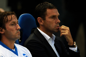 BRIGHTON, ENGLAND - AUGUST 23:  Gus Poyet manager of Brighton & Hove Albion looks on ahead of the Carling Cup second round match between Brighton & Hove Albion and Sunderland AFC at Amex Stadium on August 23, 2011 in Brighton, England.  (Photo by Bryn Len