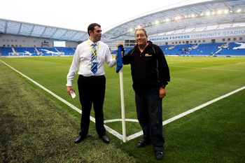 BRIGHTON, ENGLAND - AUGUST 23:  Paul Camillin, Brighton & Hove Albion Press Officer poses with Ian Abrahams (Moose) from Talksport Radio ahead of the Carling Cup second round match between Brighton & Hove Albion and Sunderland FC at Amex Stadium on August