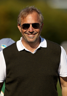 PEBBLE BEACH, CA - FEBRUARY 12:  Actor Kevin Costner stands on the side of the 17th green during the third round of the AT&T Pebble Beach National Pro-Am at the Pebble Beach Golf Links on February 12, 2011 in Pebble Beach, California  (Photo by Ezra Shaw/