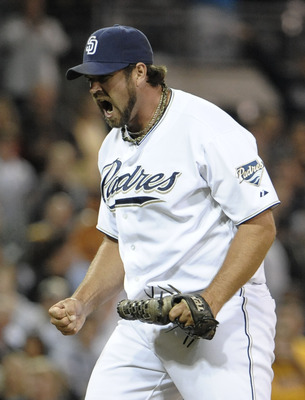 SAN DIEGO, CA - SEPTEMBER 16:  Pitcher Heath Bell #21 of the San Diego Padres reacts after getting the final out during the ninth inning of a baseball game against the Arizona Diamondbacks at Petco Park on September 16, 2011 in San Diego, California. The