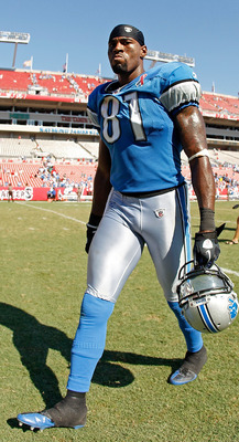 TAMPA, FL - SEPTEMBER 11:   Calvin Johnson #81 of the Detroit Lions walks off the field after beating Tampa Bay Buccaneers in the season opener at Raymond James Stadium on September 11, 2011 in Tampa, Florida.  (Photo by Mike Ehrmann/Getty Images)