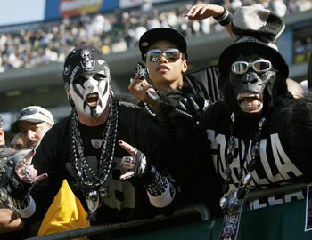 Oakland Raiders fans in Black Hole during game against the Pittsburgh Steelers at McAfee Coliseum in Oakland, California on October 29, 2006. The Raiders won 20 to 13. (Photo by Robert B. Stanton/NFLPhotoLibrary)