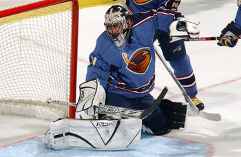 ATLANTA - NOVEMBER 24:  Goaltender Steve Shields #31 of the Atlanta Thrashers kicks out a leg pad in defense of his net against the New York Rangers during their NHL game on November 24, 2005 at Philips Arena in Atlanta, Georgia. The Rangers defeated the