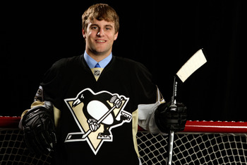MONTREAL, QC - JUNE 27:  Ben Hanowski of the Pittsburgh Penguins poses for a portrait during the 2009 NHL Entry Draft at the Bell Centre on June 27, 2009 in Montreal, Quebec, Canada.  (Photo by Jamie Squire/Getty Images)