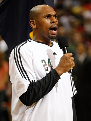 MILWAUKEE - APRIL 30: Jerry Stackhouse #24 of the Milwaukee Bucks sings the National Anthem before the Bucks take on the Atlanta Hawks in Game Six of the Eastern Conference Quarterfinals during the 2010 NBA Playoffs at the Bradley Center on April 30, 2010