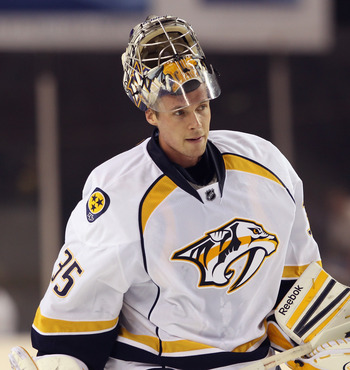 BALTIMORE, MD - SEPTEMBER 20: Pekka Rinne #35 of the Nashville Predators skates against the Washington Capitals at the 1st Mariner Arena on September 20, 2011 in Baltimore, Maryland. The Predators defeated the Capitals 2-0.  (Photo by Bruce Bennett/Getty