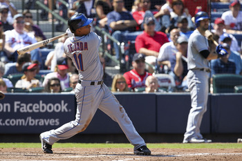 Ruben Tejada's triple in the 4th inning cleared the bases after 3 walks by Brandon Beachy.