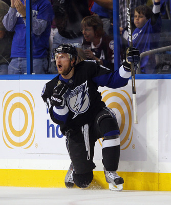 TAMPA, FL - MAY 03:  Steven Stamkos #91 of the Tampa Bay Lightning scores the game tying goal in the third period against the Washington Capitals in Game Three of the Eastern Conference Semifinals during the 2011 NHL Stanley Cup Playoffs at St Pete Times