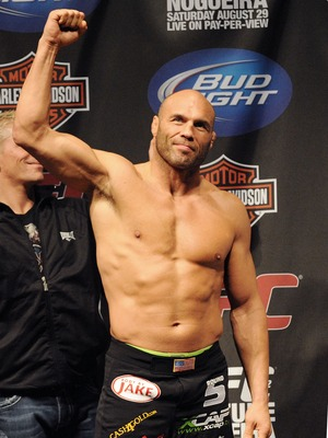 PORTLAND, OR - AUGUST 28: UFC heavyweight fighter Randy Couture weighs in at the UFC 102: Couture vs. Nogueira Weigh-In at the Rose Garden Arena on August 28, 2009 in Portland, Oregon. (Photo by Jon Kopaloff/Getty Images)