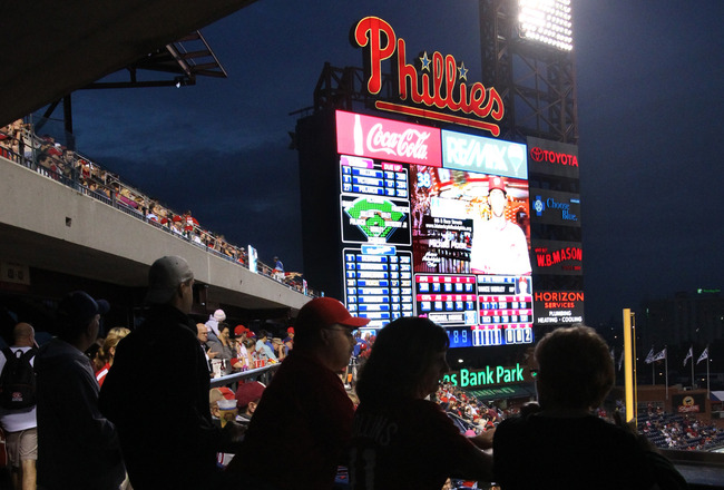 PHILADELPHIA - SEPTEMBER 21: Fans stand and watch during a game between the Washington Nationals and the Philadelphia Phillies at Citizens Bank Park on September 21, 2011 in Philadelphia, Pennsylvania. The Nationals won 7-5. (Photo by Hunter Martin/Getty