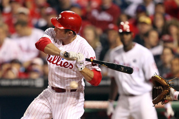 PHILADELPHIA - SEPTEMBER 20: Second baseman Chase Utley #26 of the Philadelphia Phillies is hit by a pitch during a game against the Washington Nationals at Citizens Bank Park on September 20, 2011 in Philadelphia, Pennsylvania. The Nationals won 3-0. (Ph