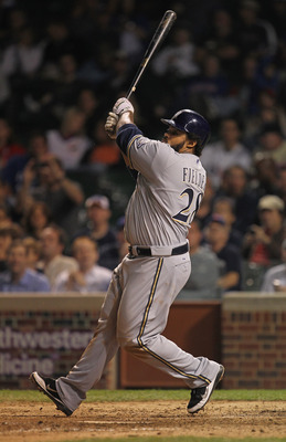 CHICAGO, IL - SEPTEMBER 20:  Prince Fielder #28 of the Milwaukee Brewers takes a swing against the Chicago Cubs at Wrigley Field on September 20, 2011 in Chicago, Illinois. The Brewers defeated the Cubs 5-1.  (Photo by Jonathan Daniel/Getty Images)