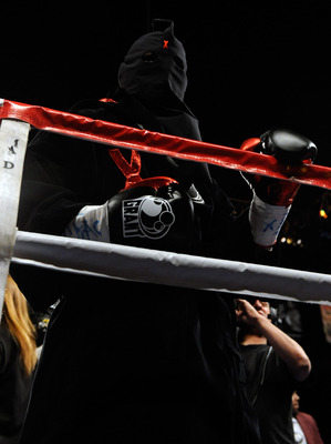 LAS VEGAS - APRIL 03:  Bernard Hopkins enters the ring wearing a hood before his light heavyweight bout against Roy Jones Jr. at the Mandalay Bay Events Center April 3, 2010 in Las Vegas, Nevada. Hopkins won by unanimous decision.  (Photo by Ethan Miller/