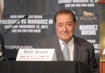 NEW YORK, NY - SEPTEMBER 06:  Boxing promoter Bob Arum attends the press conference for Manny Pacquiao and Juan Manuel Marquez's World Welterweight Championship Fight at The Lighthouse at Chelsea Piers on September 6, 2011 in New York City.  (Photo by Mic
