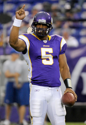 MINNEAPOLIS, MN - SEPTEMBER 18: Donovan McNabb #5 of the Minnesota Vikings before the game against the Tampa Bay Buccaneers on September 18, 2011 at the Hubert H. Humphrey Metrodome in Minneapolis, Minnesota. (Photo by Hannah Foslien/Getty Images)