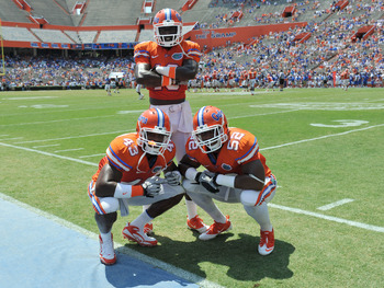GAINESVILLE, FL - APRIL 9:  Linebacker Jelani Jenkins 43, linebacker Dee Finley  #13 and linebacker Jonathan Bostic #52 of the Florida Gators pose during the Orange and Blue spring football game April 9, 2010 Ben Hill Griffin Stadium at Gainesville, Flori
