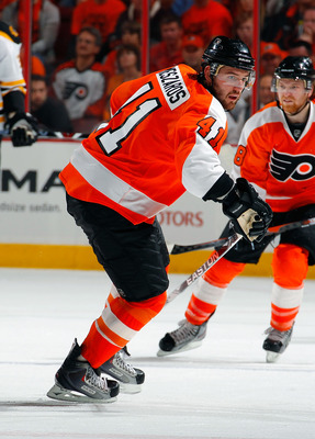 PHILADELPHIA, PA - MAY 02:  Andrej Meszaros #41 of the Philadelphia Flyers skates in Game Two of the Eastern Conference Semifinals against the Boston Bruins during the 2011 NHL Stanley Cup Playoffs at Wells Fargo Center on May 2, 2011 in Philadelphia, Pen