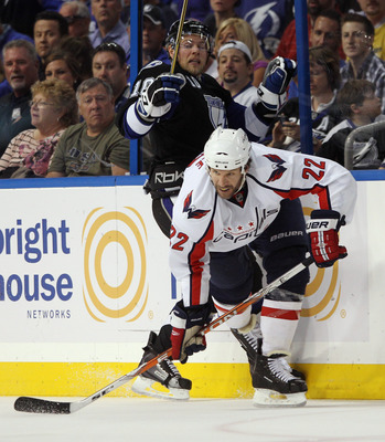 TAMPA, FL - MAY 03: Mike Knuble #22 of the Washington Capitals skates against the Tampa Bay Lightning in Game Three of the Eastern Conference Semifinals during the 2011 NHL Stanley Cup Playoffs at St Pete Times Forum on May 3, 2011 in Tampa, Florida. The