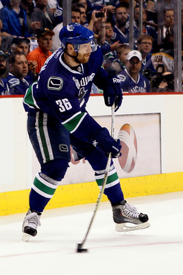 VANCOUVER, BC - JUNE 10:  Jannik Hansen #36 of the Vancouver Canucks skates during Game Five of the 2011 NHL Stanley Cup Final at Rogers Arena on June 10, 2011 in Vancouver, British Columbia, Canada.  (Photo by Elsa/Getty Images)