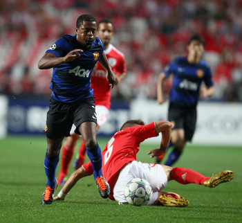 LISBON, PORTUGAL - SEPTEMBER 14:  Patrice Evra of Manchester United in action during the UEFA Champions League Group C match between SL Benfica and Manchester United at the Estadio da Luz on September 14, 2011 in Lisbon, Portugal.  (Photo by Clive Mason/G