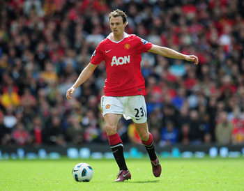 MANCHESTER, ENGLAND - MAY 22:  Jonny Evans of Manchester United in action during the Barclays Premier League match between Manchester United and Blackpool at Old Trafford on May 22, 2011 in Manchester, England.  (Photo by Shaun Botterill/Getty Images)