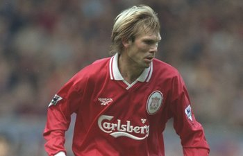 25 Oct 1997:  Bjorn Kvarme of Liverpool in action during an FA Carling Premiership match against Derby County at Pride Park in Derby, England. \ Mandatory Credit: Gary M. Prior/Allsport